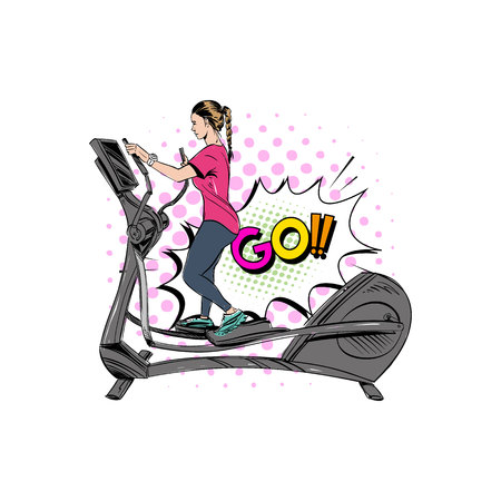Woman engaged on the different training apparatus in the gym set. Illustration