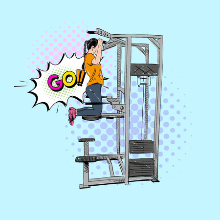 Woman engaged on the different training apparatus in the gym set. Hand drawn vector illustration.