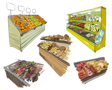 fish husbandry: Beautiful showcases with food in supermarket. Hand drawn sketch design. Vector illustration. Illustration