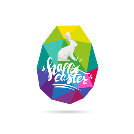 Rabbit abstract triangle.Hand drawn lettering Happy Easter.