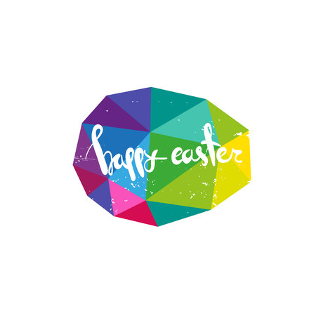 Egg abstract triangle.Hand drawn lettering Happy Easter. Text template sketch design postcard. Vector illustration. Illustration
