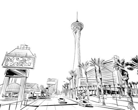 ラスベガス市の手描き。米国。ネバダ州。ストリート スケッチ、ベクトル イラスト  イラスト・ベクター素材