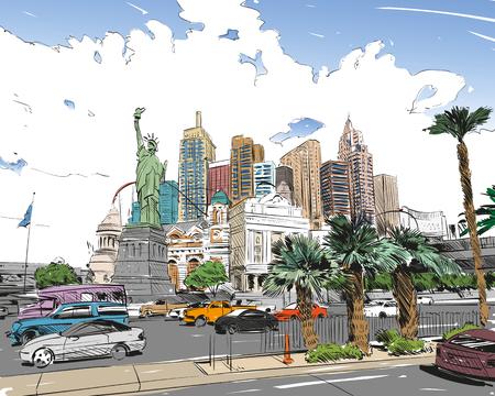 Las Vegas city hand drawn.USA. Nevada. Street sketch, vector illustration Vettoriali