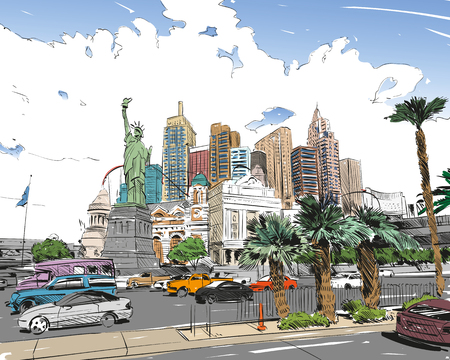 Las Vegas city hand drawn.USA. Nevada. Street sketch, vector illustration Ilustração