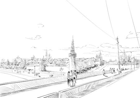 Russia. Moscow. Kremlin. Hand drawn vector illustration. Ilustrace
