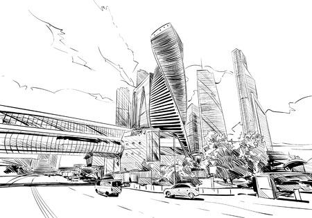 Rusia. Moscú. Bosquejo dibujado a mano. Centro de negocios. Ilustración del vector.