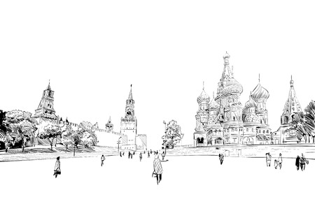 orthodoxy: Russia. Moscow.Red square St. Basils Cathedral.Russia. Hand drawn vector illustration.