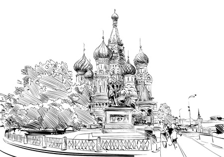 orthodoxy: Moscow.Red square St. Basils Cathedral. Hand drawn vector illustration.