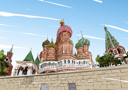 orthodoxy: Russia. Moscow.Red square St. Basils Cathedral. Hand drawn vector illustration. Illustration