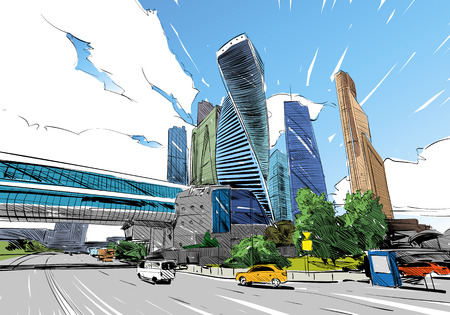 Russia. Moscow city. Hand drawn sketch. Business Center. Vector illustration. Ilustrace