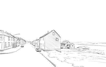 Norway village sketch hand drawn. Northern landscape fjord vector illustration Ilustração