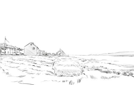 Norwegen Dorf Skizze von Hand gezeichnet. Nord-Landschaft Fjord Vektor-Illustration