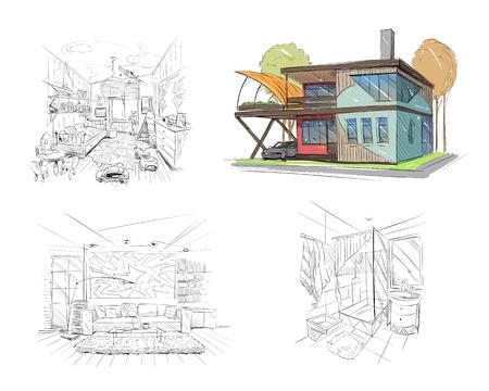 living room wall: Hand drawn cottage house sketch design. Sketch interior bathroom, nursery, living room. Vector illustration
