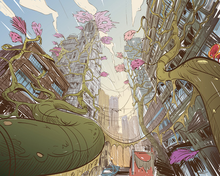 building site: Postapocalyptic fantastic city. Concept art illustration. Sketch gaming design. Fantastic vehicles, trees, people. Hand drawn vector painting. Illustration