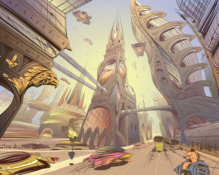 Fantastic city of the future. Concept art illustration. Sketch gaming design. Fantastic vehicles, trees, people. Hand drawn vector painting. Illustration