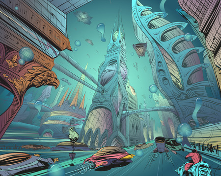 Underwater fantastic city. Concept art illustration. Sketch gaming design. Fantastic vehicles, trees, people. Hand drawn vector painting. Vectores