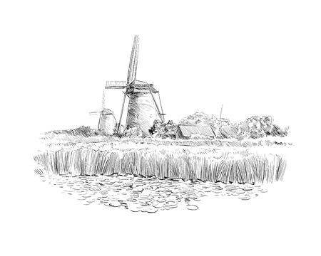 Campos panorâmicos no fundo de moinhos de vento na Holanda. Países Baixos, Europa. Ilustração desenhada mão do vetor Ilustración de vector