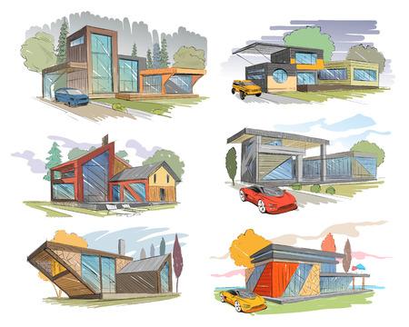 building site: Hand drawn cottage house sketch design set. Vector illustration