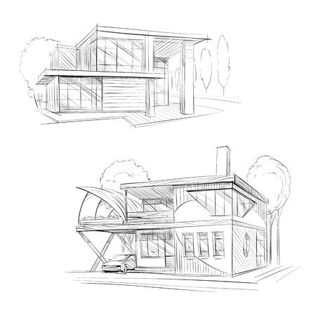 building site: Hand drawn cottage house sketch design. Vector illustration
