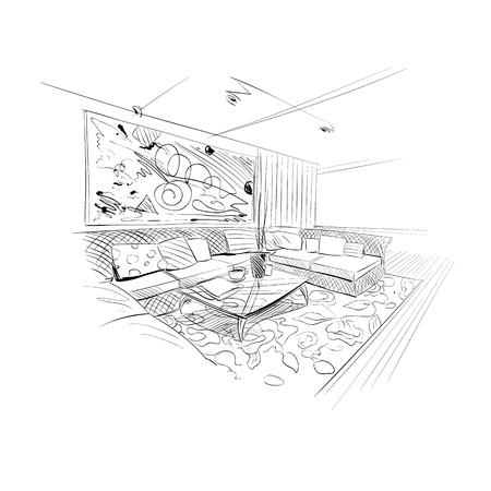 living room wall: Hand drawn living room interior sketch design. Vector illustration