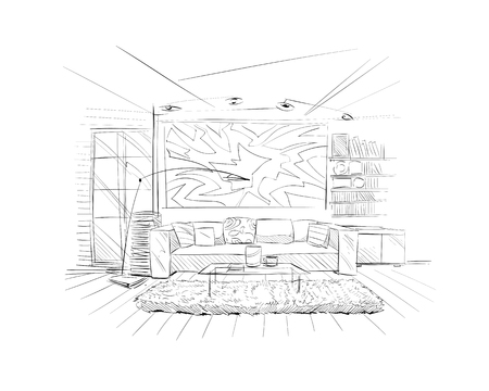 lounge room: Hand drawn living room interior sketch design. Vector illustration