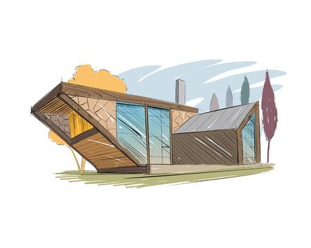 手描きコテージ家スケッチ デザイン。ベクトル図
