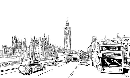 London cityscape hand drawn. Big Ben. England. vector illustration. Illustration