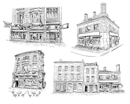 cafe shop: Set of facades of London buildings, shop, store, cafe, pub. Hand drawn English architecture. Vector illustration Illustration