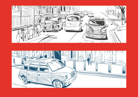 building site: London taxi cab. Hand drawn, vector illustration