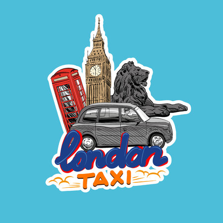 Car sticker, London cab taxi. Hand drawn vector illustration