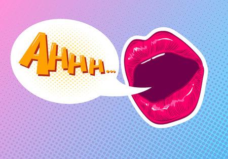 augmentation: Pop art woman lips. Sexy mouth. Speech bubble comic book style. Illustration