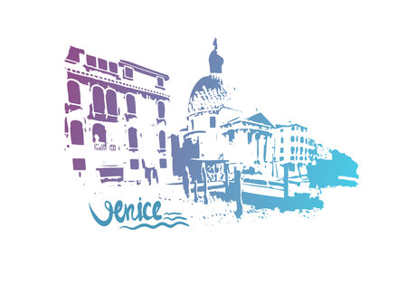 building site: Italy. Venice. Hand drawn vector illustration.