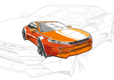 exhaust system: Car concept. Car sketch. Vector hand drawn. Autodesign. Automobile drawing.