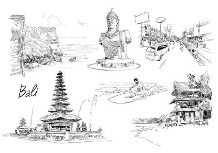 Hand drawn Bali landmarks set. Sketch vector illustration.