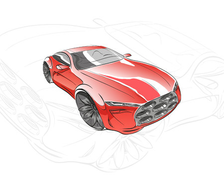 Car concept. Car sketch. Vector hand drawn. Autodesign. Automobile drawing.