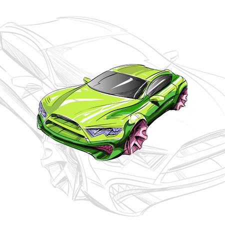 Auto-Konzept. Autoskizze. Vektor Hand gezeichnet. Autodesign. Automobilzeichnung. Illustration