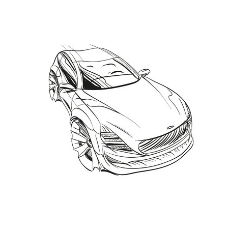 Auto concept. Auto schets. Vector hand getrokken. Autodesign.Automobiel tekenen. Vector Illustratie