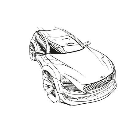 Auto-Konzept. Auto-Skizze. Vektor Hand gezeichnet. Autodesign.Automobile Zeichnung. Standard-Bild - 88186572