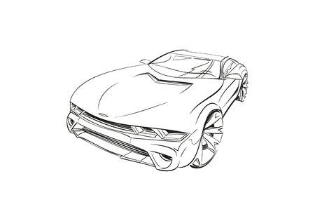 Auto-Konzept. Auto-Skizze. Vektor Hand gezeichnet. Autodesign.Automobile Zeichnung. Vektorgrafik