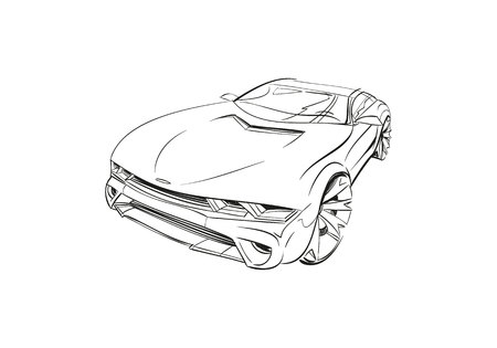 Car concept. Car sketch. Vector hand drawn. Autodesign.Automobile drawing.