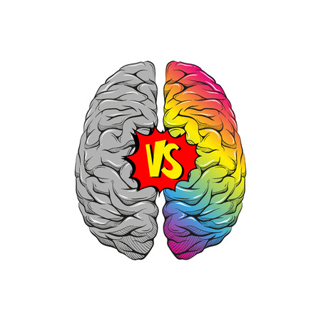 Versus letters human brain right and left hemisphere illustration. Creative concept vector design.