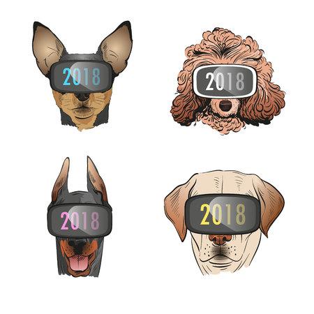 chihuahua: Dog wearing virtual reality glasses, Year of the dog 2018. Fashion vector illustration.