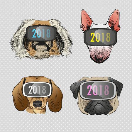 Dog wearing virtual reality glasses, Year of the dog 2018. Fashion vector illustration.