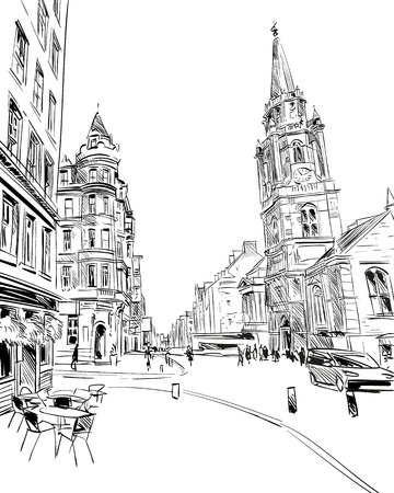 Scotlands city sketch. Illustration