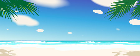 Beautiful tropical seascape. Summer time backgrounds. Vector illustration