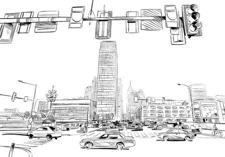 Philadelphia. Pennsylvania. USA. Hand drawn.Unusual Street sketch, vector illustration 向量圖像