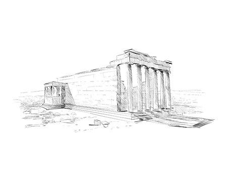 Acropolis of Athens. Erechtheum. Athens. Greece. Europe. Hand drawn sketch. Vector illustration.