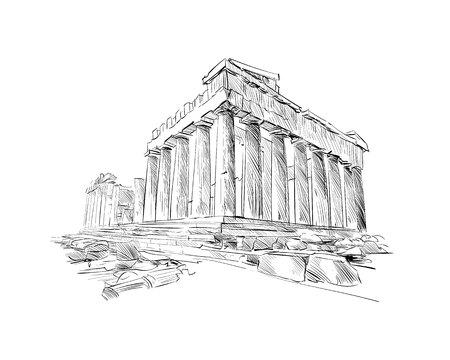 Acropolis of Athens. The Parthenon. Athens. Greece. Europe. Hand drawn sketch. Vector illustration.
