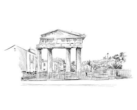 Roman Agora. Athens. Greece. Europe. Hand drawn sketch. Vector illustration. Vetores