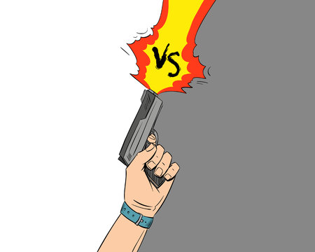 Versus letters fight backgrounds comics style design.Hand holds gun, Vector illustration Illustration